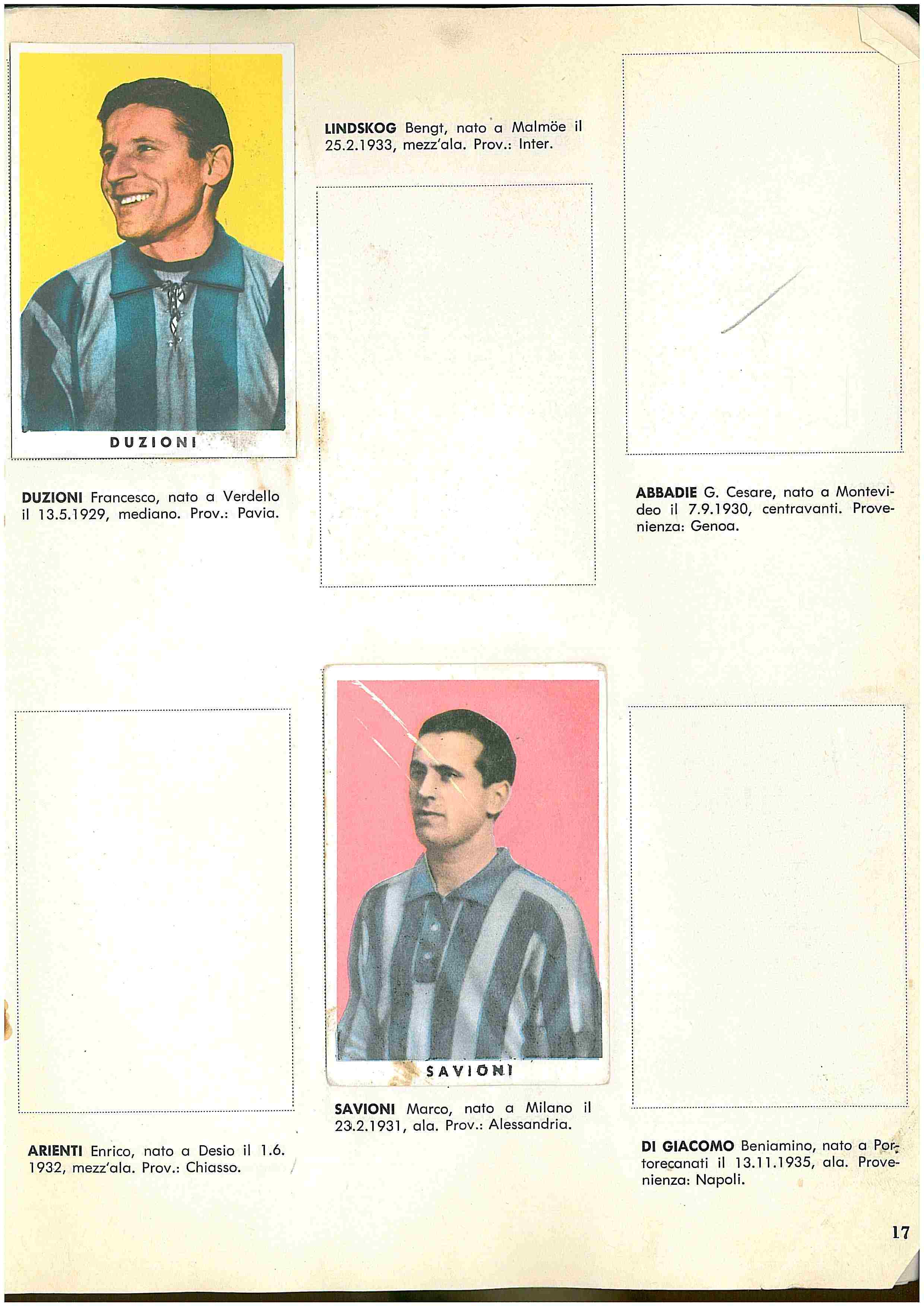 New TREBBI MILAN Figurina-Sticker CALCIATORI NANNINA 1961-62